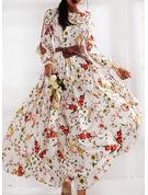 Floral Print A-line Long Sleeves Split Sleeve Maxi Casual Elegant Skater Dresses