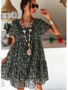 Tisk Šaty Shift Krátké rukávy Midi Neformální Tunika Módní šaty
