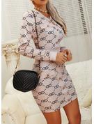 Print Bodycon Long Sleeves Mini Casual Dresses