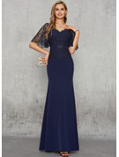 Trumpet/Mermaid V-neck Floor-Length Charmeuse Lace Evening Dress With Beading