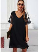 Blonder Solid Skiftekjoler 1/2 ærmer Flare-ærmer Mini Den lille sorte Casual Tunika Mode kjoler