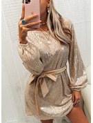 Sequins Solid Sheath Long Sleeves Mini Party Dresses