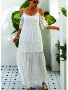 Spitze Einfarbig Etuikleider 1/2 Ärmel Kalte Schulter Ärmel Maxi Lässige Kleidung Urlaub Modekleider