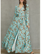 Print A-line 1/2 Sleeves Maxi Party Elegant Skater Wrap Dresses