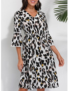 Leopard A-line 1/2 Sleeves Midi Casual Elegant Skater Dresses