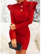 Einfarbig Perlen Figurbetont Lange Ärmel Mini Kleine Schwarze Party Elegant Modekleider