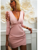 Blonder Solid Bodycon Lange ermer Puffete ermer Mini Party Elegant Motekjoler