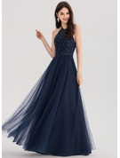 A-Line/Princess Halter Floor-Length Tulle Prom Dresses With Beading