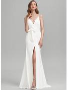 Платье-чехол V-образный Sweep/Щетка поезд стретч-креп Свадебные Платье с Бант(ы) Разрез спереди
