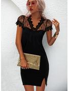 固体 ボディコンドレス 半袖 ミニ リトルブラックドレス エレガント ファッションドレス