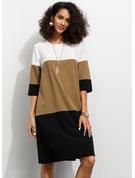 Color Block Shift 1/2 Sleeves Midi Casual Tunic Dresses