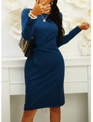 Solid Bodycon Long Sleeves Midi Little Black Casual Elegant Pencil Dresses
