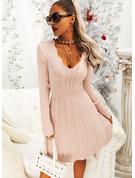 Einfarbig Lange Ärmel Lässige Kleidung Modekleider