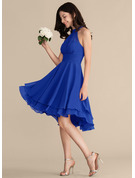 A-Line Scoop Neck Asymmetrical Chiffon Bridesmaid Dress With Ruffle