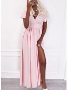 Solid A-line Short Sleeves Maxi Party Elegant Skater Dresses