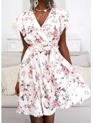 Floral Print A-line Short Sleeves Mini Elegant Skater Wrap Dresses