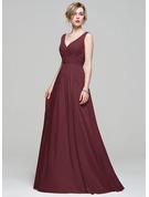 A-Linie V-Ausschnitt Bodenlang Chiffon Brautjungfernkleid mit Rüschen Spitze Perlstickerei Pailletten