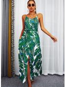 Kwiatowy Nadruk Bez pleców Sukienka Trapezowa Bez Rękawów Maxi Nieformalny Wakacyjna Łyżwiaż Rodzaj Modne Suknie