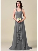 A-Line Halter Sweep Train Chiffon Bridesmaid Dress With Bow(s) Cascading Ruffles
