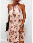 Květiny Tisk Šaty Shift Bezrukávů Mini Neformální Módní šaty