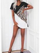 Leopard Color Block Skiftekjoler Kortermer Mini Avslappet Tunika Motekjoler