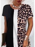 Leopardo Trozos de color Impresión Vestidos sueltos Manga Corta Mini Casual Túnica Vestidos de moda