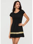 Colorido Listra Bainha Manga Curta Midi Casual camiseta Vestidos na Moda