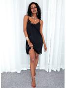 Sólido Vestidos sueltos Sin mangas Mini Pequeños Negros Casual Tipo Vestidos de moda