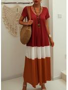 Color Block Skiftekjoler Korte ærmer Maxi Casual T-shirt Mode kjoler