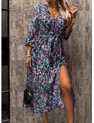 Blommig Print A-linjeklänning 3/4 ärmar Midi Fritids skater Modeklänningar