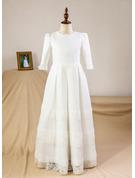 Empire Floor-length Flower Girl Dress - Satin/Lace 3/4 Sleeves Scoop Neck