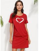 Print Bodycon Short Sleeves Mini Casual T-shirt Dresses