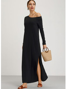 Solid Skiftekjoler Lange ærmer Maxi Casual Mode kjoler