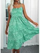 Trykk ryggløse A-line kjole Ermeløs Midi Avslappet Ferie skater Typen Motekjoler