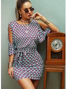 Stampa Aderente 1/2 maniche Spalle esposte Mini Casuale Elegante Vestiti di moda