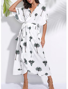 Print A-line 1/2 Sleeves Batwing Sleeves Maxi Casual Vacation Wrap Dresses