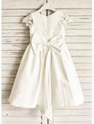 Forme Princesse Longueur genou Robes à Fleurs pour Filles - Coton Sans manches Col rond avec Dentelle/À ruban(s)