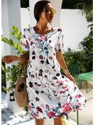 Blomstrete Trykk A-line kjole Kortermer Midi Avslappet skater Motekjoler