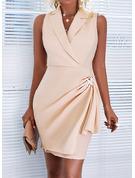 Sólido Cubierta Sin mangas Mini Elegante Vestidos de moda