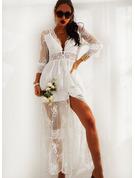 кружевной твердый A-линии Рукава 3/4 Макси элегантный Конькобежец Модные платья