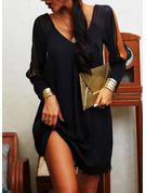 Koronka Jednolity Suknie shift Odkryte ramię Długie rękawy Mini Mała czarna Nieformalny Wakacyjna Tunika Modne Suknie