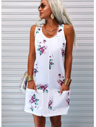 Floral Print Shift Sleeveless Midi Casual Tank Dresses