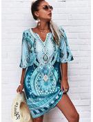 Print Shift 1/2 Sleeves Midi Boho Casual Vacation Tunic Dresses