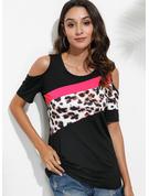 leopardo Blocchi di colore Spalle esposte Maniche corte Casuale Camicie