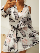 Animal Print Floral Sheath 3/4 Sleeves Cold Shoulder Sleeve Mini Casual Dresses