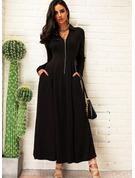 Solid A-line Long Sleeves Maxi Little Black Elegant Skater Dresses