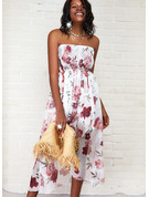 Kwiatowy Nadruk Sukienka Trapezowa Bez Rękawów Asymetryczny Nieformalny Łyżwiaż Modne Suknie