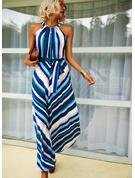 Nadruk W paski Sukienka Trapezowa Bez Rękawów Maxi Nieformalny Łyżwiaż Modne Suknie