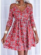 フローラル 印刷 シフトドレス 3/4袖 ミディ カジュアル チュニック ファッションドレス