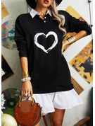 Color Block Print Shift Long Sleeves Mini Casual Dresses